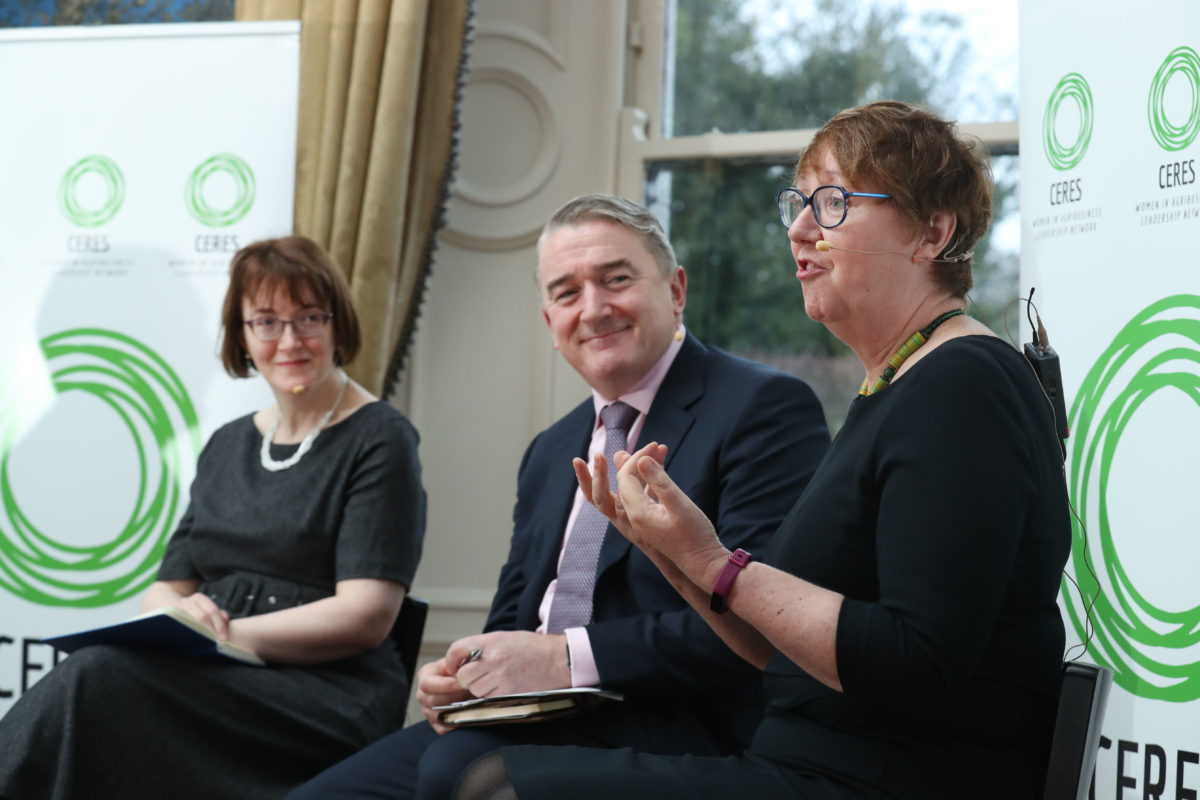 Dr Monica Gorman, John Jordan and Sinead McPhillips speaking at Ceres Network event, women in agri-business